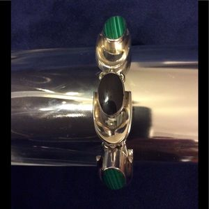 Malachite, Black Onyx and Silver Bracelet